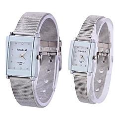 Coway amantes da moda Retângulo Silver Dial Silver Alloy banda quartzo analógico relógio de pulso à prova d'água
