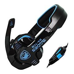 Sades SA708 3.5mm Over-Ear Stereo Gaming Headset kuulokkeet ja mikrofoni PC Game (sininen / vihreä / keltainen / valkoinen)