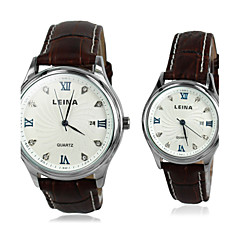 Parets Roman Diamonds Leather Quartz Dress Watch