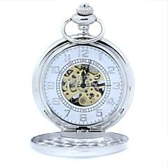 Men's Mechanical Gold Skeleton Silver Alloy Pocket Watch
