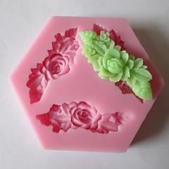 Három hosszú virág sütés fondant torta csokoládé penész, l7.3cm * w7.3cm * h1cm
