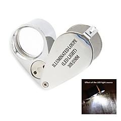 30x 21 milímetros joalheiros Lupa com 2-iluminação LED (3 * LR927)