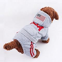 Psy Bluzy z kapturem / Kombinezon Szary / Różowy Ubrania dla psów Zima American / USA / Flagi