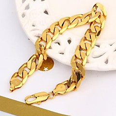 Vogue 22CM Men's 24K Yellow Gold Filled Bracelet Figaro Curb Link Chain 12MM Width Jewelry