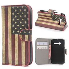 American Flag USA Leather Wallet Case with Stand and Card Slot for Alcatel One Touch Pop C5