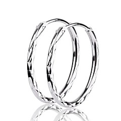 I FREE SILVER®Women's Valentine's Day Gift S925 Silver Hoop Earrings 2 pcs (1 pair)