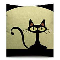 يذكر القطن القط الأسود / الكتان غطاء وسادة الزخرفية