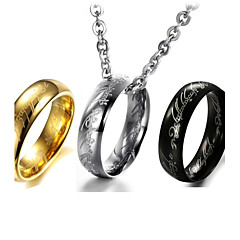 Magic Exquisite Verses Titanium Steel Men the Ring Necklace