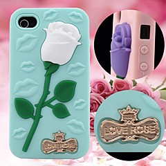 3D Rose and Sexy Lips Pattern Silicon Rubber Case for iPhone4/4s(Assorted Colors)