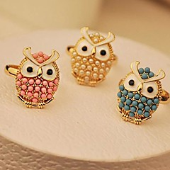 Lureme®Delicate Lovely Owl Pearl Ring(Assorted Color)