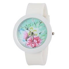 la mode fleur colorée cadran rond bande de silicone blanc montre-bracelet des femmes