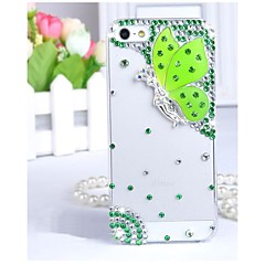 Transparent Case Butterfly Fashion Diamond-encrusted Diamante Back Case for iPhone 4/4S (Assorted Colors)
