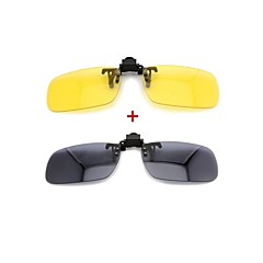LEBOSH™ Myopic Sunglass Clip Super Light Polarized Lens Combination of Day And Night Suit (Black & Yellow,2 Pairs)