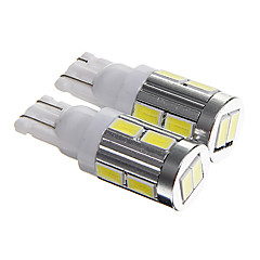 T10 5W 400lm 6000-6500k 10-SMD 5730 LED Cool White Light Car License plate/Instrument/Reading Lamp(DC12V 2PCS)