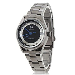 Women's Elegant Dial Black Steel Band Automatic Self-Winding Wrist Watch