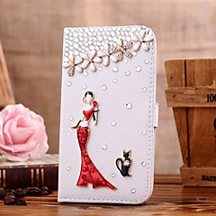 Diamond Lady and Cat PU Leather Full Body Case with Stand and Card Slot for iPhone 4/4S
