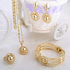 Italiaanse mode-stijl gouden ketting vier stuk sieraden set inclusief armbanden, oorbellen, de partij is tie-in