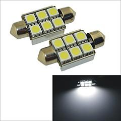 carking ™ 12v 2stk 5050-6smd-36mm bil guirlande interiør lys Rom lampe hvidt lys