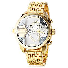 dwa męskie strefy czasowe złoty zegarek kwarcowy nadgarstka zespół stali (różne kolory)