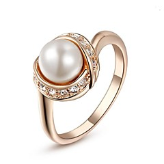 18K Rose/White Gold Plated Pearl Ring For Women With Austrian Crystal Stellux Top Fashion