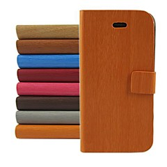 Wood Design Pattern PU Leather Full Body Cover with Stand for iPhone 4/4S (Assorted Color)