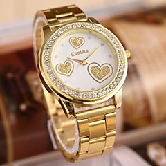 kvinners mote flotte hjerte rhinestones stål belte watch
