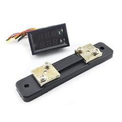 mini digital blå + röd ledde likström meter voltmeter w / ampere shunt