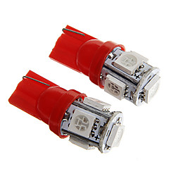 T10 1W 100LM 5×5050 SMD LED Red Light for Car Dashboard / Door / Trunk Lamps (DC12V  2Pcs)