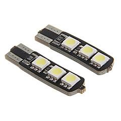 t10 1w 80lm 6000-6500k 6-SMD 5050 levou luz branca fria para instrumento carro decodificado / licença placa da lâmpada (12V 2pcs)