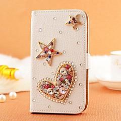 diamant perle pentagram PU læder hele kroppen tilfældet med stativ og kort slot til iPhone 5 / 5s