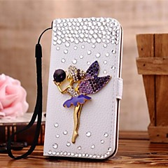 Diamond Elfin PU Leather Full Body Case with Stand and Card Slot for iPhone 4/4S