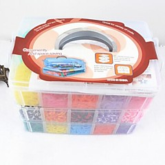 Rainbow Colorful Loom Style Silicone Band Bracelets(15000pcs Bands ,12 S-clips, 1 Looms ,1 Hook+1Box)