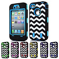 3-in-1 Design Raised Grain Pattern Hard Case with Silicone Inside Cover for iPhone4/4S (Assorted Colors)
