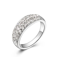 Small Pieces Simulated Diamond Austrian Crystals Rose/White Gold Plated CZ Stone Engagement Ring