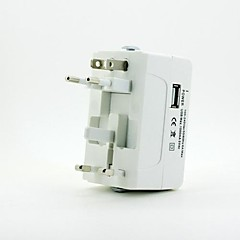 Universal Travel Power Plug Adapter with USB Port - White (US / EU / UK / AUS)