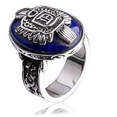 Vintage Punk Gothic Silver Lapis Lazuli Alloy Men's Ring