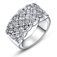 Noble Small Pieces Simulated Diamond Austrian Crystals Rose/White Gold Plated Finger Ring