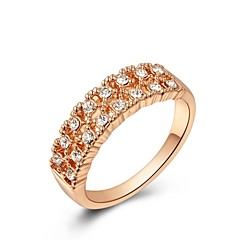 Gorgeous 18K Rose Gold Plated Shining Two Row Clear Austria Crystal Diamond Finger Ring