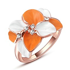 Classic Small Pieces Simulated Diamond Austrian Crystals Rose/White Gold Plated Leaves Finger Ring