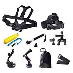 Gopro Accessories 9 in 1 Kit Chest +Head Strap+Floating Grip +Handlebar Seatpost + Monopod +Suction Cup For GoPro
