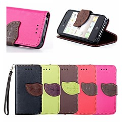 Leaf Buckle Pattern PU Leather Full Body Case with Card Slot And Stand for iPhone 4/4S (Assorted Colors)