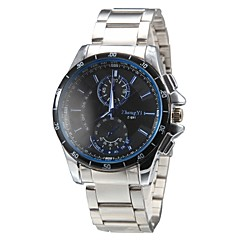 Men's Casual Style Silver Steel Band Quartz Wrist Watch (Assorted Colors)
