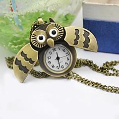 Women's Cartoon Bronze Vintage Sliding Cover Owl Quartz Watch Pocket Watch Necklace Sweater Chain Cool Watches Unique Watches