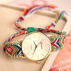 reloj de la cadena de oro caso pulsera de cuarzo analógico banda de tela de las mujeres (colores surtidos)