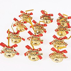 12pcs Christmas Bells with Gold Line Bow Alphabet