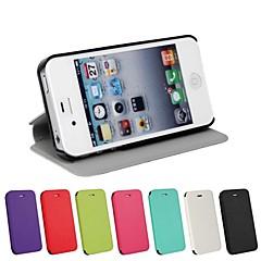Jednolity kolor ultracienki pu skóra pełna pokrywa ciało z podstawką do iPhone 4 / 4S (Wybór koloru)