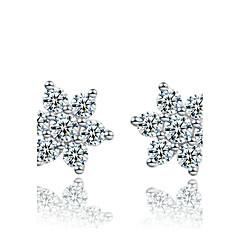 Γυναικεία Κουμπωτά Σκουλαρίκια κοσμήματα πολυτελείας Ασήμι Στερλίνας Προσομειωμένο διαμάντι Νιφάδα χιονιού Κοσμήματα Για