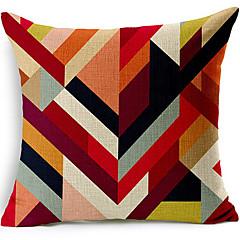 여러 가지 빛깔의 기하학적면 / 린넨 장식 베개 커버