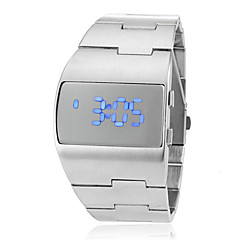 Men's Futuristic Blue LED Digital Silver Steel Band Wrist Watch