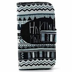matata padrão tribal capa de couro preto branco pu com suporte e slot para cartão para Samsung Galaxy Lite tendência s7390 / s7392